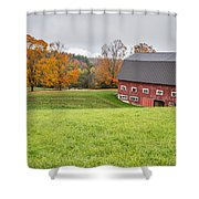 Classic New England Fall Farm Scene Shower Curtain
