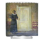 classic oil painting art-The back of the girl #16-2-1-04 Shower Curtain