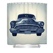 Classic Old Car On Vintage Background Shower Curtain