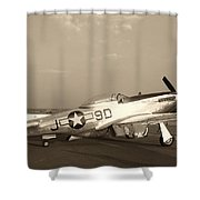 Classic P-51 Mustang Fighter Plane Shower Curtain