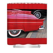Classic Red And Black Shower Curtain
