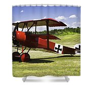 Classic Red Barron Fokker Dr.1 Triplane Photo Shower Curtain