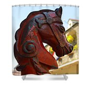 Classic Red Horsehead Post Shower Curtain