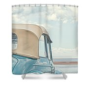 Classic Vintage Morris Minor 1000 Convertible At The Beach Shower Curtain