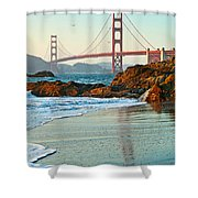 Classic - World Famous Golden Gate Bridge With A Scenic Beach And Birds. Shower Curtain