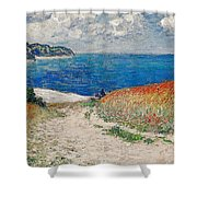 Claude Monet's Path In The Wheat Fields At Pourville-1882 Shower Curtain