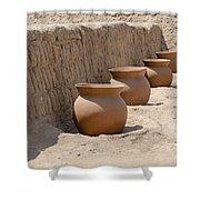 Clay Pots At Huaca Pucllana In Lima Peru Shower Curtain