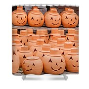 Clay Pumpkins Standing Happy Near The Wood Fence Shower Curtain