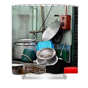 Clean Pots And Pans On Outdoor Sink Shower Curtain