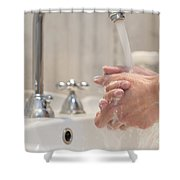 Cleaning Her Hands Shower Curtain