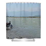 Cleaning Motorcycle At Riverside Swat Valley Pakistan Shower Curtain