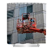 Cleaning Skyscraper Window And Wall With Snorkel Singapore Shower Curtain