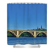 Clear Blue Skies At Key Bridge Shower Curtain
