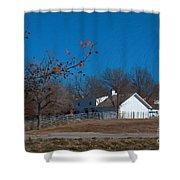 Clear Blue Sky - Oil On Canvas Shower Curtain