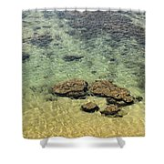 Clear Indian Ocean Water With Rocks At Galle Sri Lanka Shower Curtain