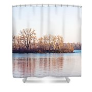 Clear Morning On The River Shower Curtain
