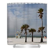 Clearwater Beach In Wintertime Shower Curtain