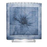 Clematis Cyanotype Shower Curtain
