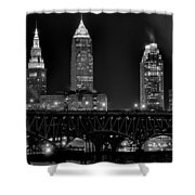 Cleveland Black And White Night Shower Curtain
