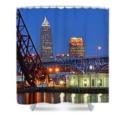 Cleveland Blue Hour Panoramic Shower Curtain
