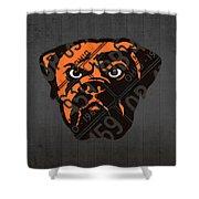 Cleveland Browns Football Team Retro Logo Ohio License Plate Art Shower Curtain