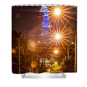 Cleveland Downtown Street View At Night Shower Curtain