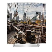 Cleveland From The Deck Of The Peacemaker Shower Curtain by Dale Kincaid