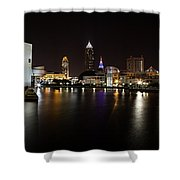 Cleveland Lakefront Nightscape Shower Curtain