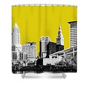 Cleveland Skyline 3 - Mustard Shower Curtain