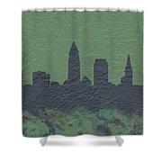Cleveland Skyline Brick Wall Mural Shower Curtain