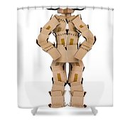 Clever Box Character Wearing Glasses Shower Curtain