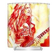 Cliff Burton Playing Bass Guitar Portrait.1 Shower Curtain
