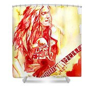 Cliff Burton Playing Bass Guitar Portrait.1 Shower Curtain