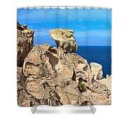 cliff in San Pietro island Shower Curtain