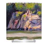 Cliff Jumping Shower Curtain