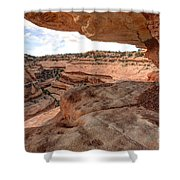 Cliff Overhang In Southwest Sandstone Canyon - Utah Shower Curtain by Gary Whitton