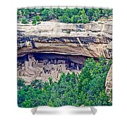 Cliff Palace From Chapin Mesa Top Loop Road In Mesa Verde National Park-colorado  Shower Curtain