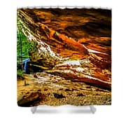 Cliff Rocks And Waterfall Shower Curtain