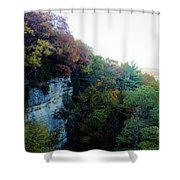 Rock Cliff With Trees Shower Curtain