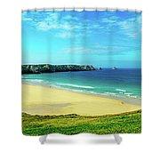Cliffs In The Sea, Pointe De Pen-hir Shower Curtain