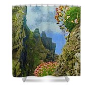 Cliffside Sea Thrift Shower Curtain by Jeff Kolker