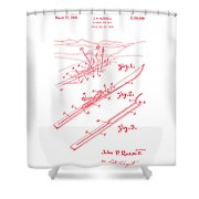 Climber For Skis 1939 Russell Patent Art Red On White Shower Curtain