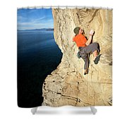 Climber Reaches For Hand Hold Shower Curtain
