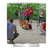 Climbing Down The Ladder Into A Kiva At Spruce Tree House In Mesa Verde National Park-colorado Shower Curtain