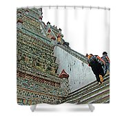 Climbing Many Steps At Temple Of The Dawn-wat Arun In Bangkok-th Shower Curtain