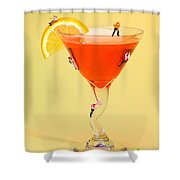 Climbing On Red Wine Cup Shower Curtain by Paul Ge
