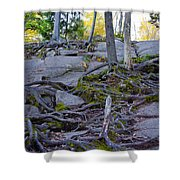 Climbing The Rocks Of Bald Mountain Shower Curtain
