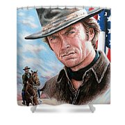 Clint Eastwood American Legend Shower Curtain by Andrew Read