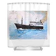 Clipper Epic Longline Fishing Boat Nautical Chart Map Art Shower Curtain