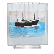 Clipper Express Longline Fishing Boat Nautical Chart Map Art Shower Curtain